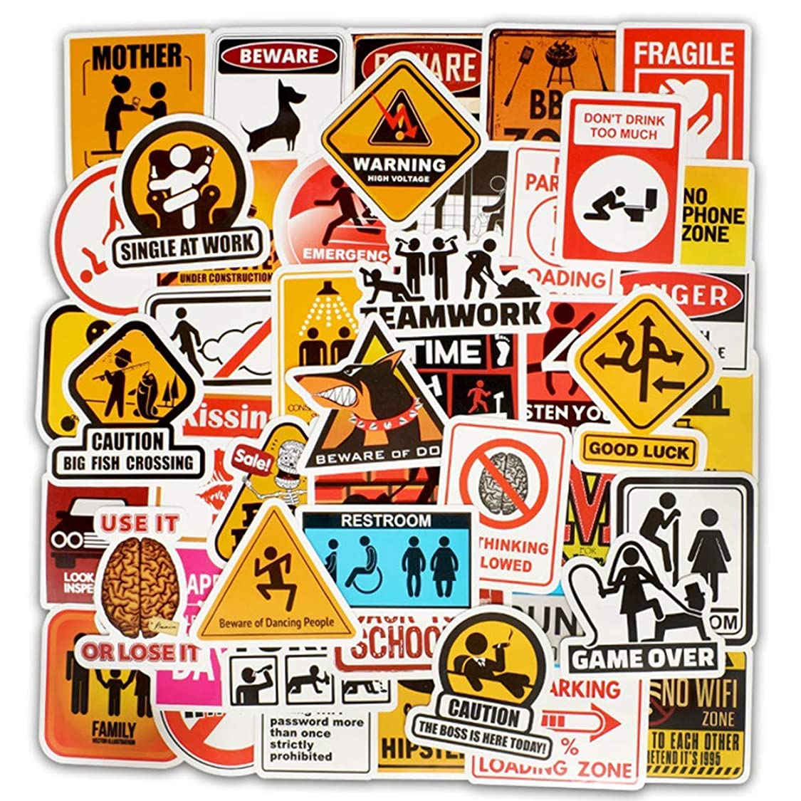 Ehope Traffic Signs Danger Warning Stickers Comic Computer Stickers Vinyl Stickers for Car Bike Laptop MacBook Skateboard Luggage Decal Graffiti Patches Stickers (50 pcs Warning Sign Style) ic97445107349934