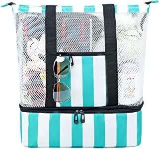 Mesh Beach Bag Insulated Picnic Cooler Top Zipper Beach Tote for Women Pool Bag