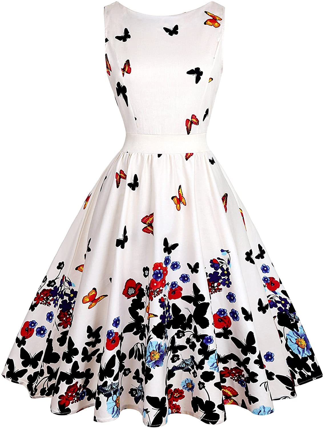 OWIN Women's 1950s Vintage Floral Swing Party Cocktail Dress with Butterfly Pattern (S, Mild White + Butterfly)