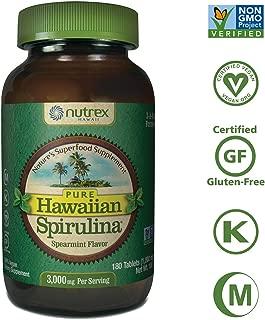 Pure Hawaiian Spirulina-1000mg Tablets Spearmint 180 Count - Natural Premium Spirulina from Hawaii - Vegan, Non-GMO, Non-Irradiated - Superfood Supplement & Natural Multivitamin