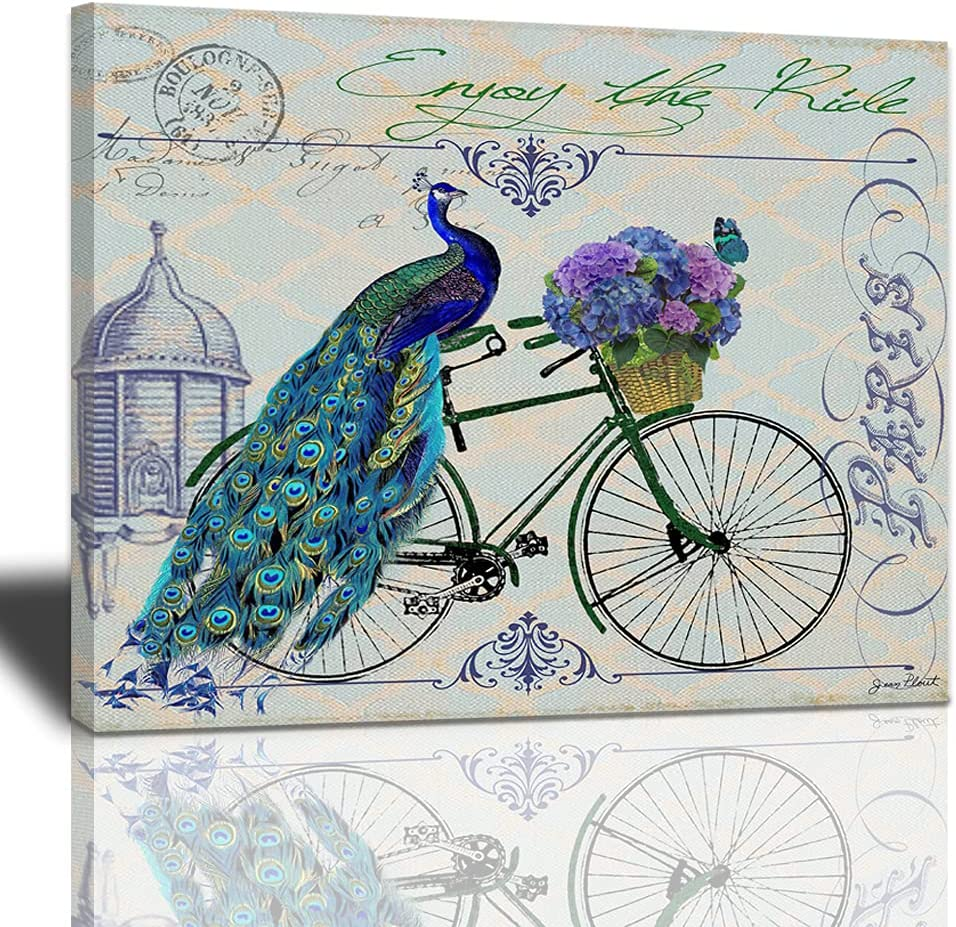 Peacock Free shipping anywhere in the Overseas parallel import regular item nation on Bicycle Decor Wall Blue Feathers Art Dark Pai
