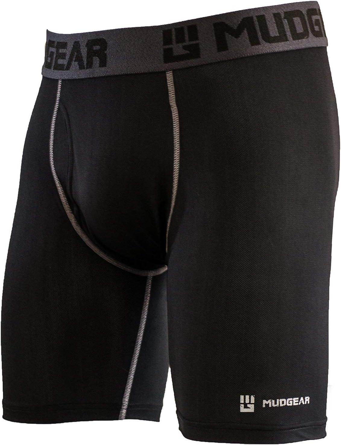 """MudGear Men's Performance Boxer Brief, 9"""" Inseam - Breathable Wicking Compression Underwear - Running, OCR, Fitness"""