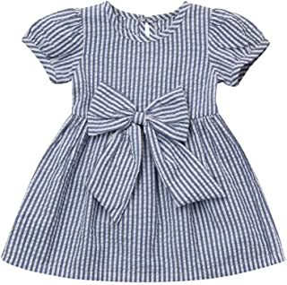 Baby Girls Infant Toddler Kids Cute Short Sleeve Stripe Dresses Big Bow Princess Outfits Dress
