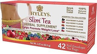Hyleys Slim Tea 5 Flavor Assorted Tea - 42 Tea Bags (100% Natural, Sugar Free, Gluten Free and Non-GMO)