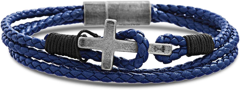 Steve Madden Stainless Steel Cross Station Leather Wrap Bracelet for Men