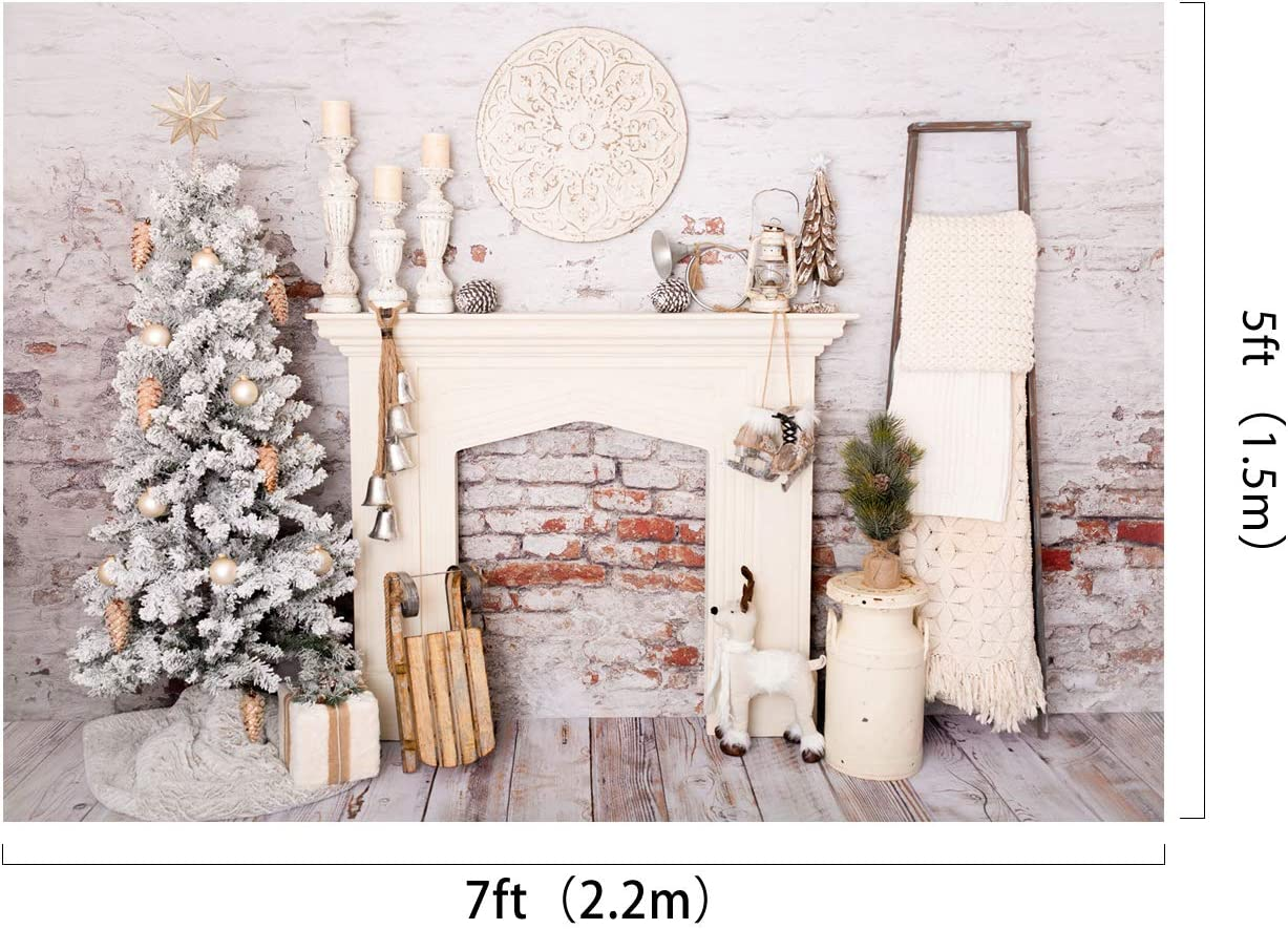 Kate 10/×6.5ft Christmas Photography Brick Wall Backdrop Christmas Tree Xmas Background Interior Indoor Photo Studio Prop for Christmas Happy New Year Decoration Photography