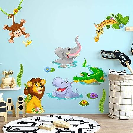 R00429 Stickers muraux effet tissu doux décoration murale bébé nouveau-né pépinière chambre maternelle papier peint adhésif - animaux de la savane Zoo