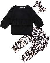 con volant e fascia con fiocco motivo leopardato Hnyenmcko a maniche lunghe vestiti da bambina