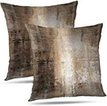 ONELZ Abstract Art Pillowcase Throw Pillow Covers, Brown and Grey Abstract Art Painting Double-Sided Cushion Cover 18 x 18...
