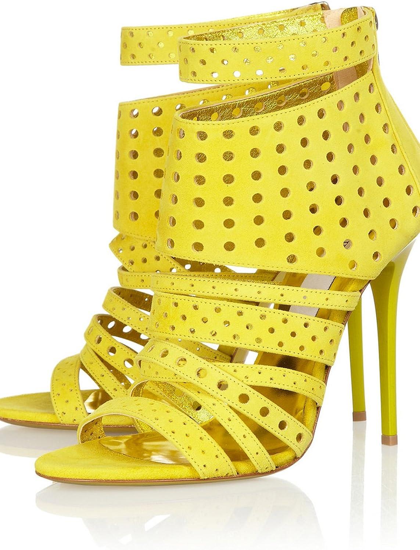 Nine Seven Genuine Leather Women's Stiletto High Heel Peep Toe Strappy Sandals