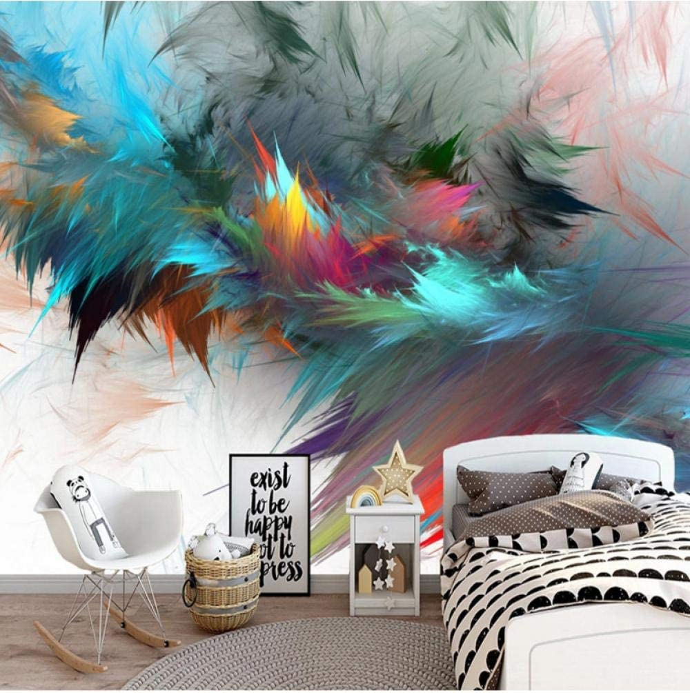 Photo Wallpaper 3D Abstract Watercolor Max 89% OFF Feathers Regular store Colorful Mur Art