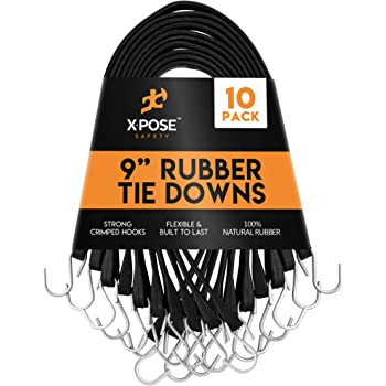 """10 Pack 9/"""" Heavy Duty Tarp Straps Tie Down Bungee Cords S-Hook Boat Covers"""
