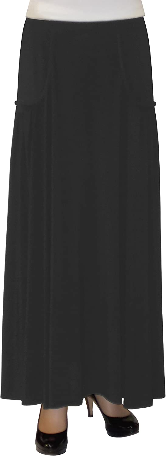 Baby'O Women's Faux Pocket Ankle Length Long Maxi Skirt Black