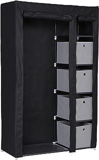 Nomade Armoire Penderie 5 Etagères en Métal avec Casiers Tiroirs + Housse en Tissu Fermeture Zip Gris 108 x 45,5 x 177 cm