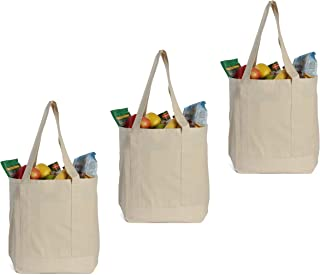 Earthwise Reusable Grocery Bags X-Large 100% Cotton Canvas Shopping Craft Beach Cloth Tote with Handles Biodegradable, Fol...