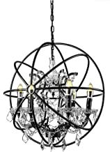 Pendant Lights, Wrought Iron Style Orb Loft Chandelier Ceiling Pendant Light Globe Cage 6 Lights Ceiling Lamp Hanging Lighting with Shining Crystals in Black Finished by KWOKING