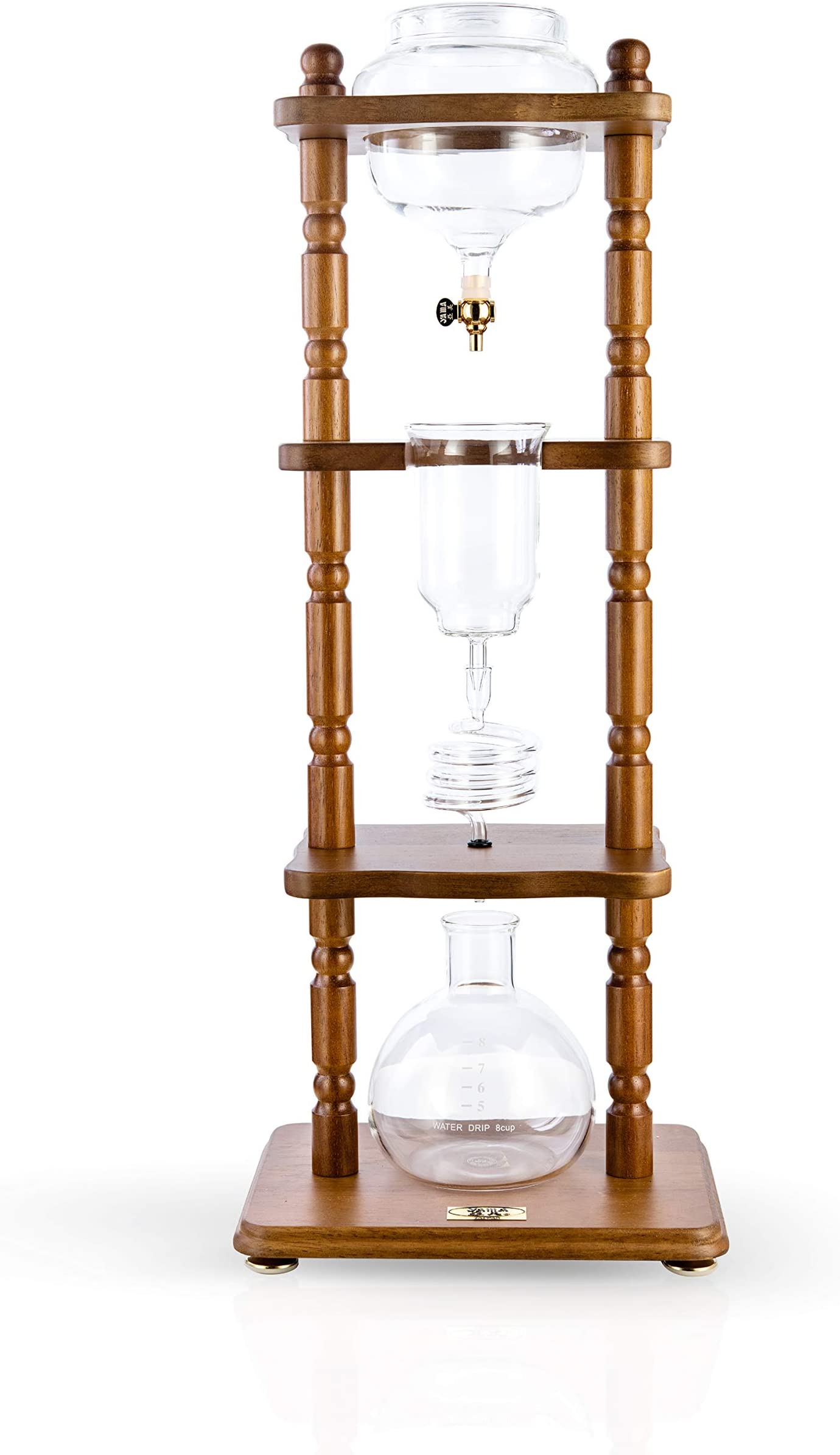 YAMA Glass YAMCDM8CBR, Brown Frame Cold Brew Drip Coffee Maker, 6-8 cup