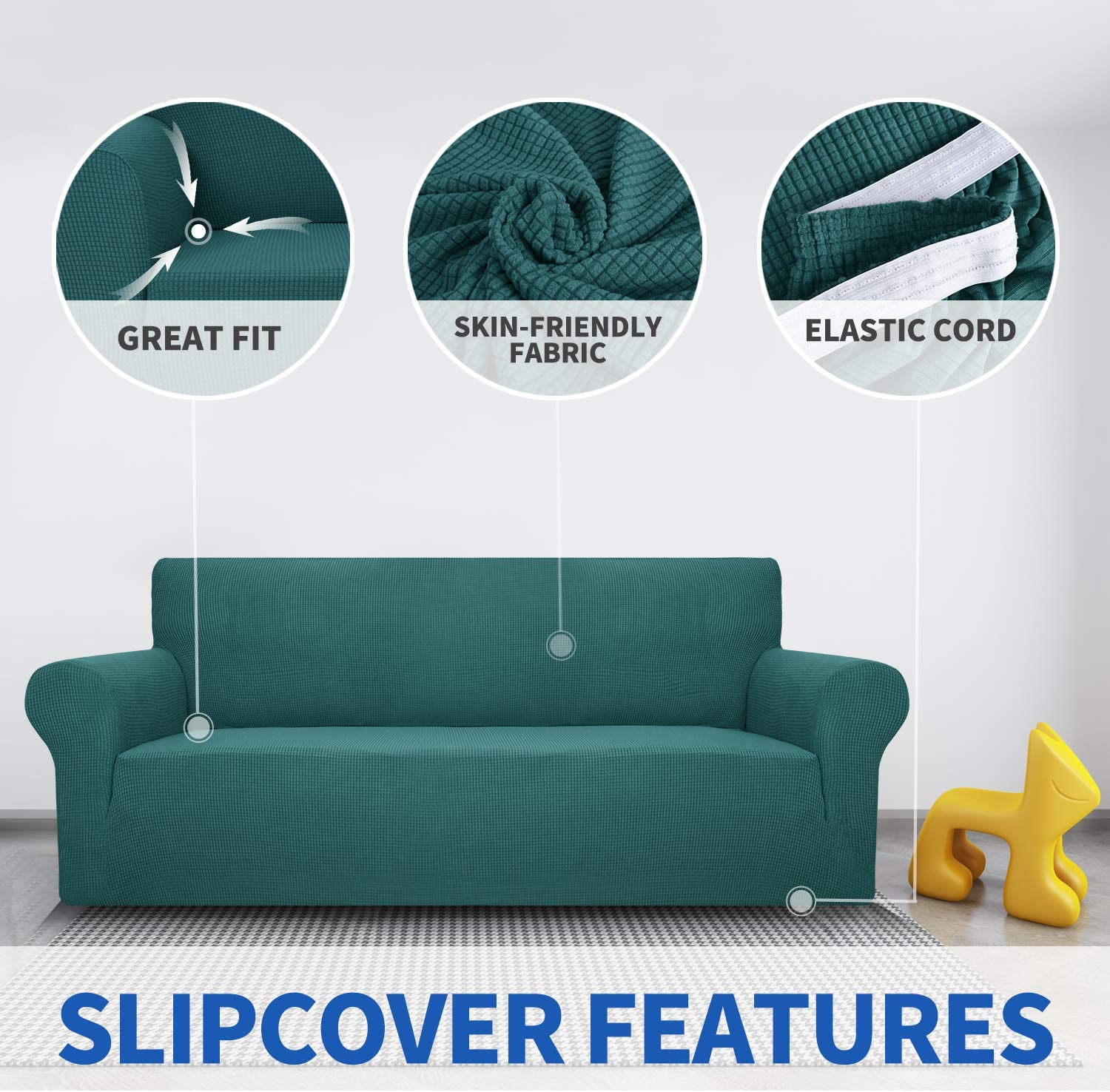 1-Piece Universal Sofa Covers Living Room Jacquard Spandex Furniture Protector Dogs Pet Friendly Fitted Couch Slipcover MAXIJIN Super Stretch Couch Cover for 3 Seater Couch 3 Seater, Beige