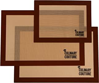 Set de tapis de cuisson en silicone (3) Plaques à pâtisserie antiadhésives - 2 Demi Plaques (42x28 CM) et 1 Quart de Plaqu...
