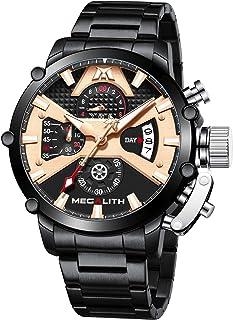 MEGALITH Orologio Cronografo Uomo Acciaio Orologi da Polso Uomo Elegante Orologio Quadrante Grande Impermeabile Analogico ...