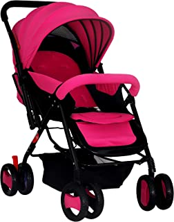 Baby Plus Stylish Stroller Cum Pram, Bp7732-Pink
