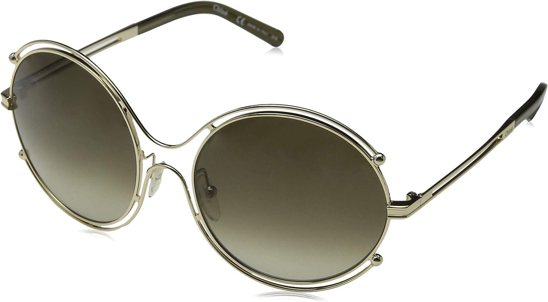 Chloe Isadora Round Sunglasses in gold Khaki CE122 S 750 59 59 Green Gradient