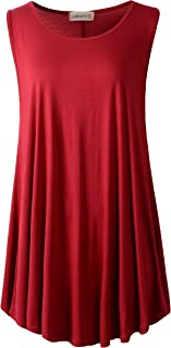 LARACE Women's Solid Sleeveless Tunic for Leggings Swing Flare Tank Tops