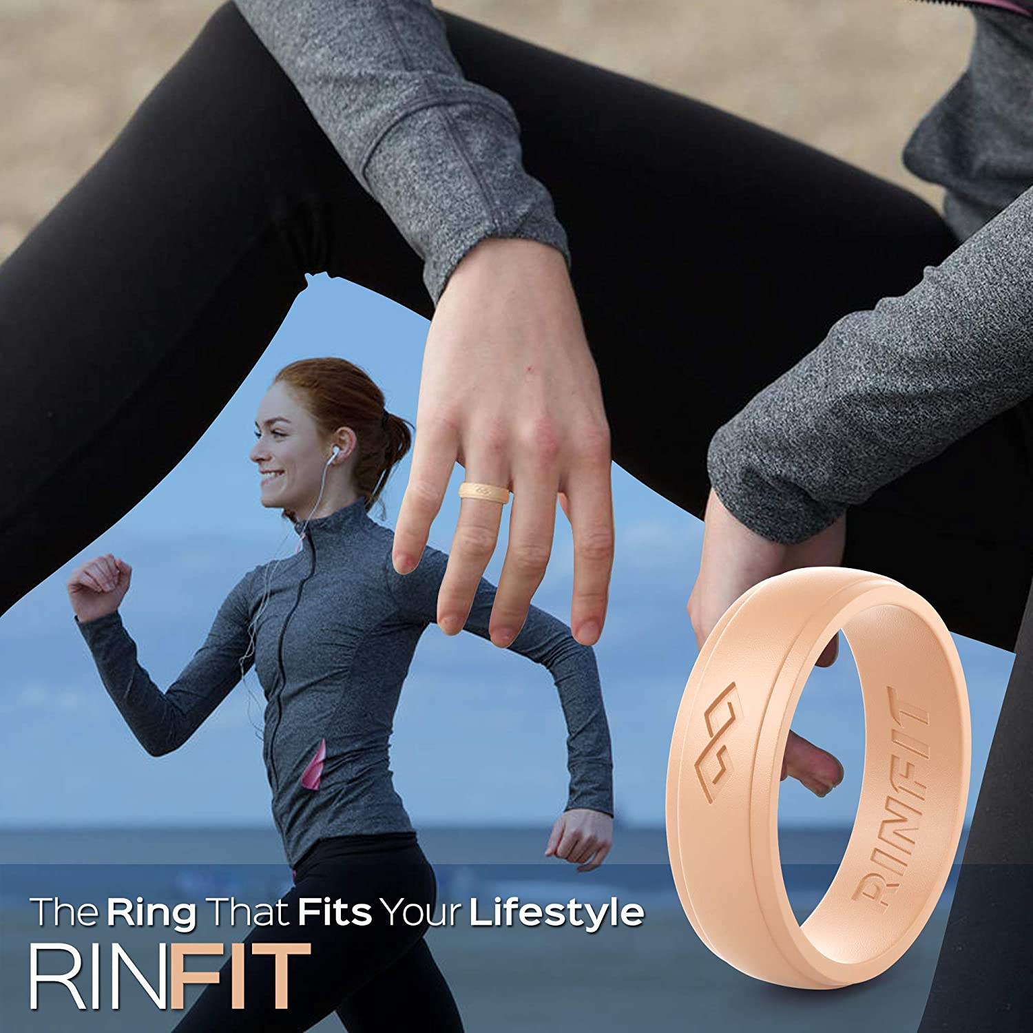 U.S Design Patent Comfortable Bands 6 Pack RinFit Silicone Wedding Rings for Women