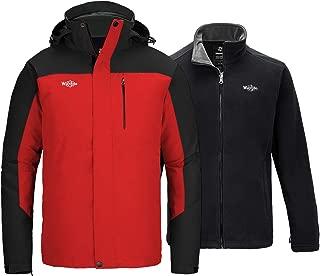 Wantdo Men's 3 in 1 Waterproof Ski Jacket Winter Interchange Jacket Rain Coat