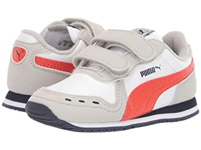 Puma Kids Cabana Racer SL Velcro (Toddler) (PUMA White/Gray Violet/Cherry Tomato) Boys Shoes