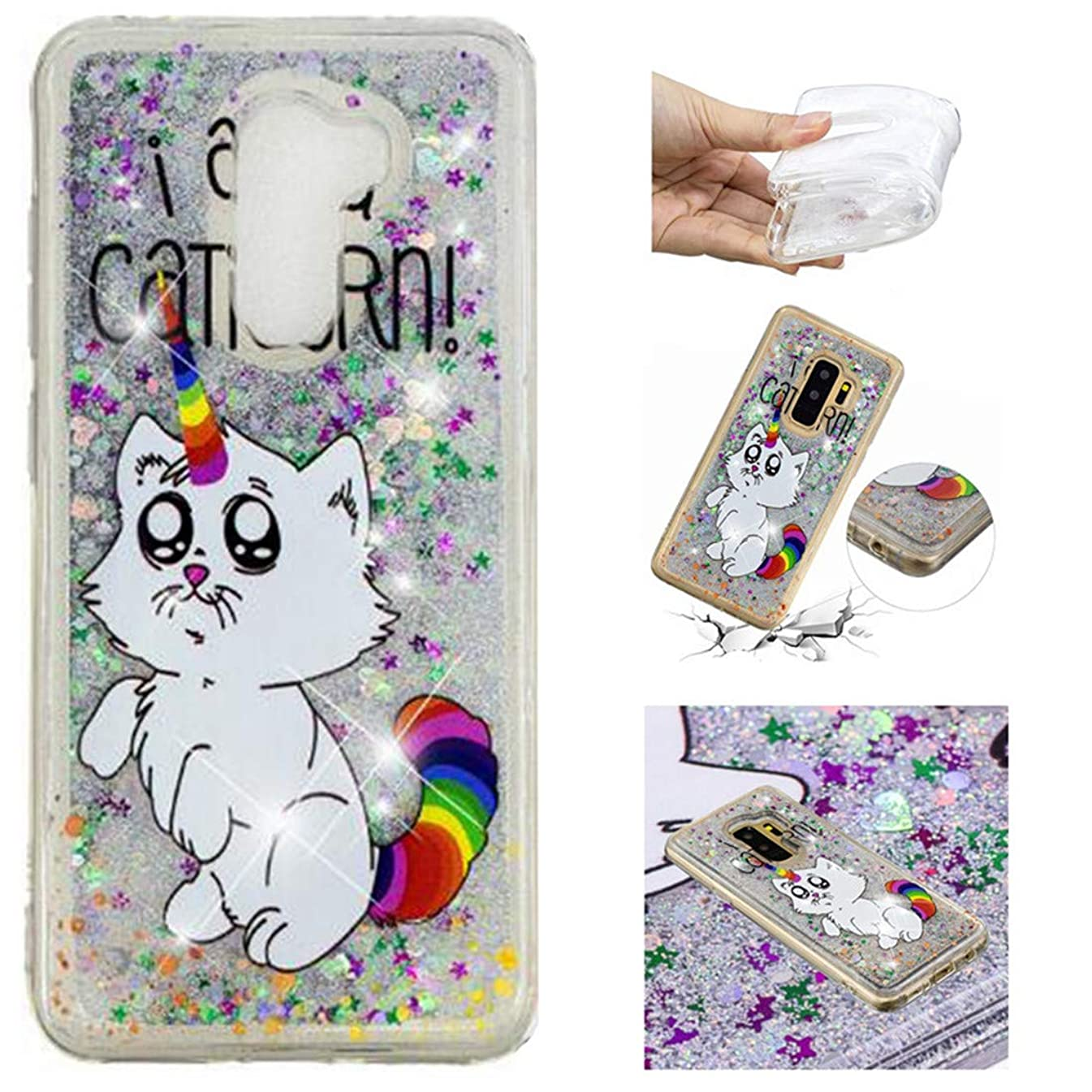 Galaxy S9 Plus Case, Lwaisy Flowing Liquid Floating Shock-Absorbing Anti-Scratch Flexible TPU Bumper Glitter Cover Phone Case for Samsung Galaxy S9 Plus (2018), Cat Unicorn