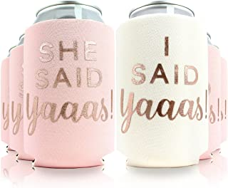 11pc Set She Said Yaaas! & I Said Yaaas! Drink Coolers for Bachelorette Parties, Bridal Showers & Weddings - 4mm Thick Bottle Cooler Sleeves aka Can Coolies aka Beverage Insulators (11pc Set, Blush)