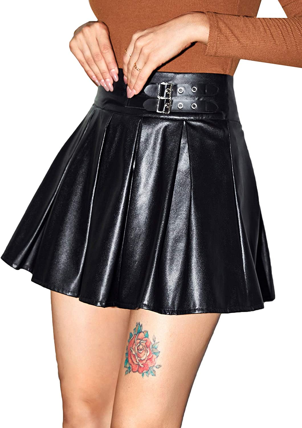 Floerns Women's Casual Pleated PU Leather A Line High Waist Belted Mini Skirt