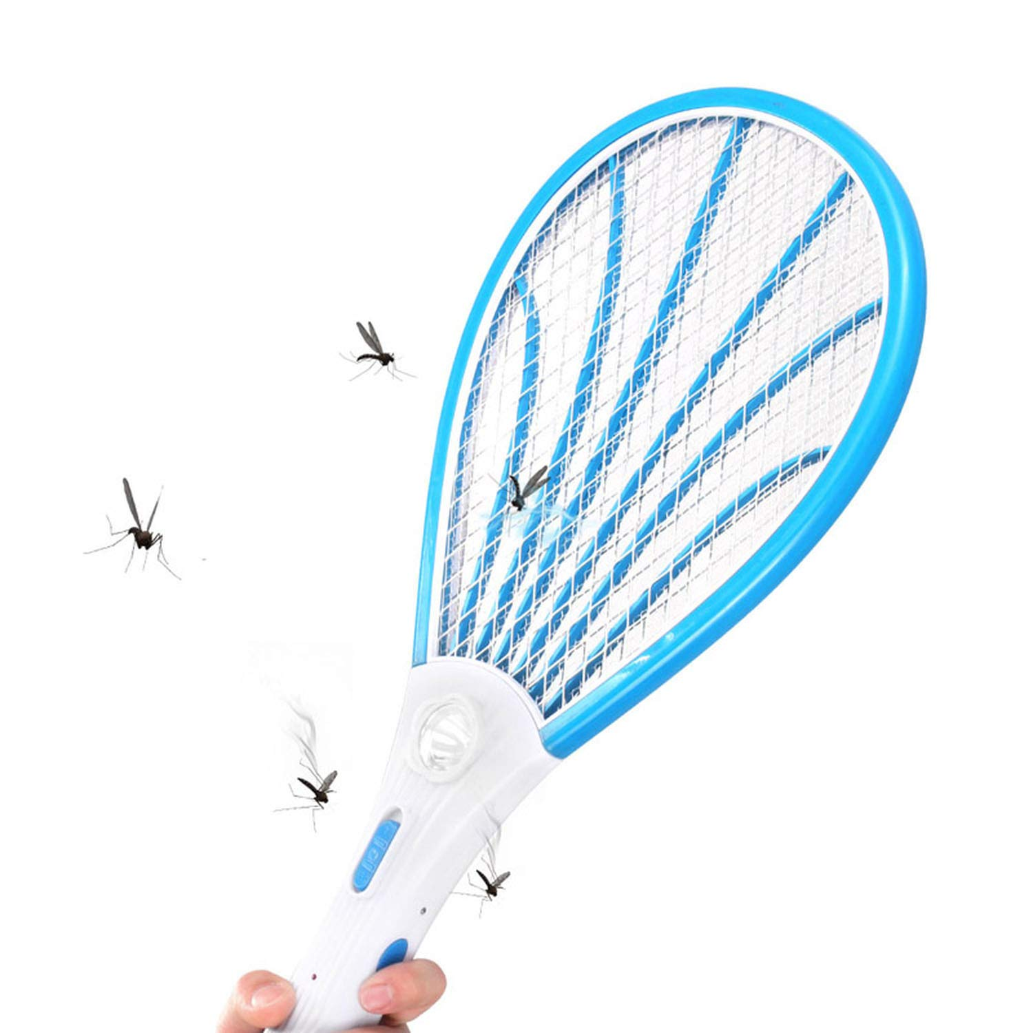 Electric Fly Swatter 1Pcs Rechargeable Led Electric Insect Bug Fly Mosquito Zapper Swatter Killer Racket 3 Layer Net Safe,Blue,EU