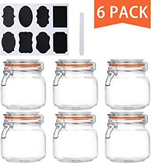 Encheng 25 oz Glass Jars With Airtight Lids And Leak Proof Rubber Gasket,Wide Mouth Mason Jars With Hinged Lids For Kitchen Canisters 750ml, Glass Storage Containers 6 Pack