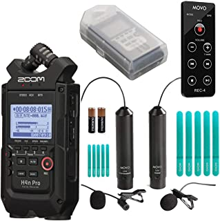 Zoom H4n PRO 4-Channel Handy Recorder Bundle with Movo Omnidirectional & Cardioid XLR Lavalier Microphones + Remote Contro...