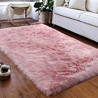 Softlife Fluffy Faux Fur Sheepskin Rugs Luxurious Wool Area Rug for Kids Room Bedroom Bedside Living Room Office Home Deco...