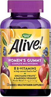 Nature's Way Alive! Women's Gummy Multivitamin, Fruit & Veggie Blend (75Mgper Serving), Full B Vitamin Complex, Gluten Fre...