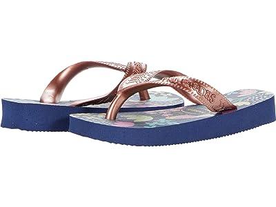 Havaianas Kids Flores Sandals (Toddler/Little Kid/Big Kid) (Dark Blue/Gold) Girls Shoes