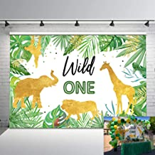 Mehofoto Wild One Birthday Backdrop Jungle Animals Party Photo Background 7x5ft Gold Safari Tropical Leaves Backdrops for Boys Birthday Cake Table Decorations