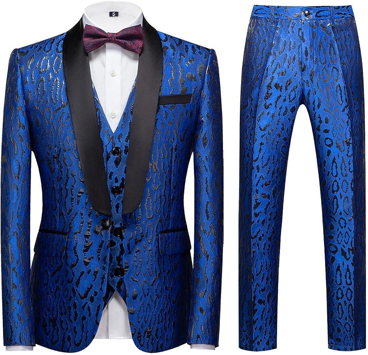 Men's 3 Piece Suits Regular Fit Classic Dinner Jacket Vest Pants Set Wedding Prom Shawl Lapel Jacquard Pattern