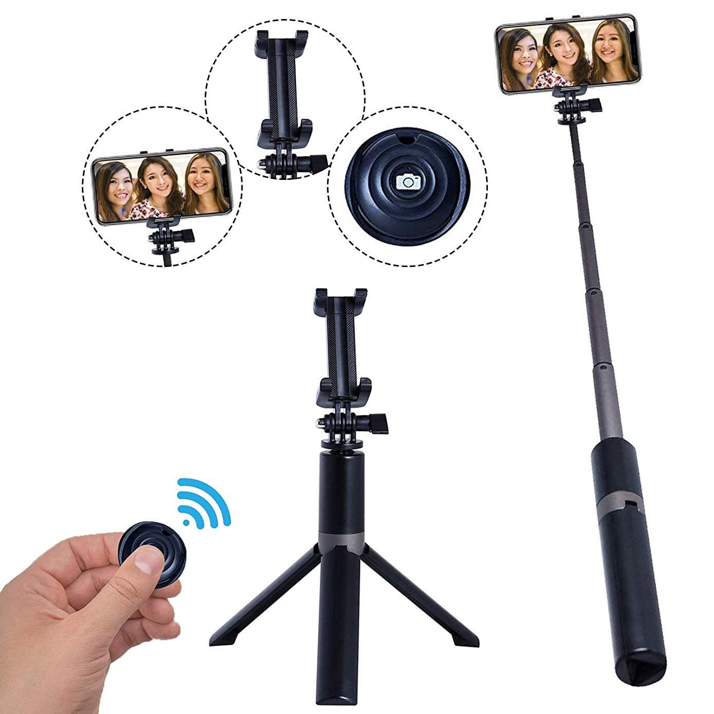 GRIMOLO Extendable Selfie Stick Bluetooth Monopod Tripod Compatible with Ergonomic Camera and Smartphone, Selfie Stick Bluetooth for iPhone and Android Phones/GoPro/Samsung Galaxy/Huawei/Xiaomi