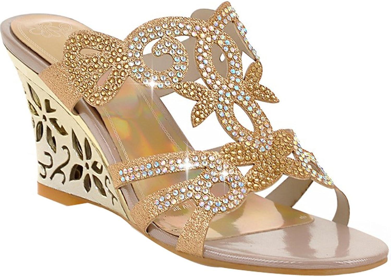 AIWEIYi Women's Summer Style Rhinestone Wedges Heel Open Toe Sandal Slippers bluee