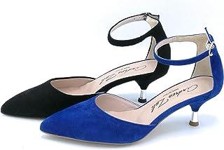Andrea Zali 1506 Decollete Cinturino a Caviglia camoscio Blu Elettrico Nero - Taglia Scarpa 38 Colore Blu Elettrico