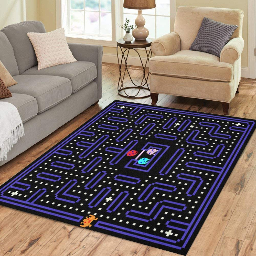 Pinbeam Area Rug 80S 8 Bit Pixel Arcade Home Deco Old Today's only Retro Game Long-awaited