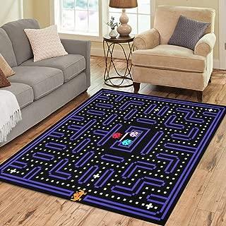 Pinbeam Area Rug 80S 8 Bit Pixel Retro Arcade Game Old Home Decor Floor Rug 5' x 7' Carpet
