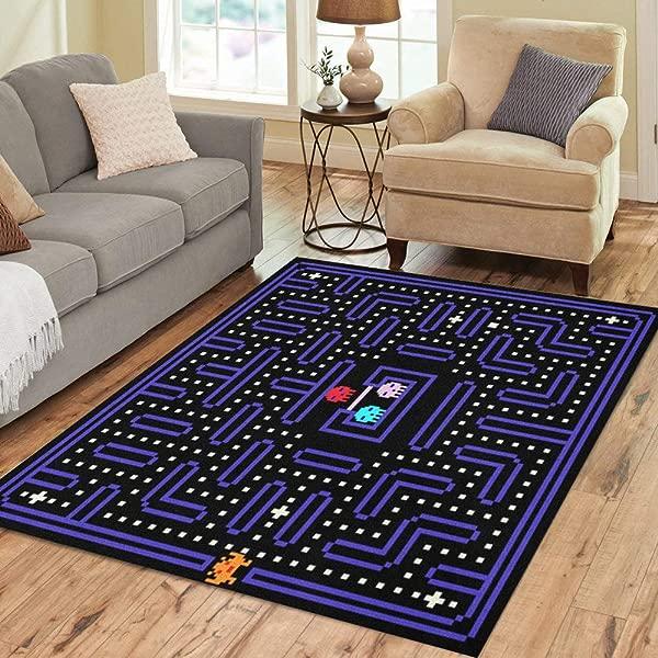 Pinbeam Area Rug 80S 8 Bit Pixel Retro Arcade Game Old Home Decor Floor Rug 5 X 7 Carpet