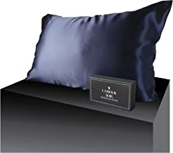 00% Mulberry Silk Pillowcase-Navy, Perfect for Hair and Skin, Prevent Wrinkles, Kind to Skin, Natural, Hypoallergenic Mate...