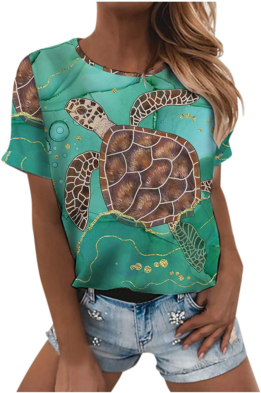 Casual Tops for Women Boat Neck Ocean Whale Turtle Shirts Grahic Tees Short Sleeve Loose Blouses
