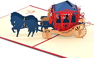 Medigy Vintage Carriage Handmade 3D Pop Up Greeting Cards Invitation Cards for Wedding, Valentines,Lovers,Couple's/ Valentines Day Gifts Cards